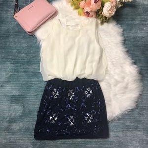 NWT Pink Martini Ivory & Navy Sequin Hallie Dress
